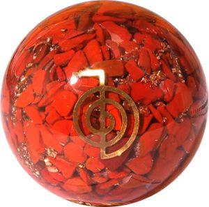 Orgonitkugel Roter Jaspis mit Reiki