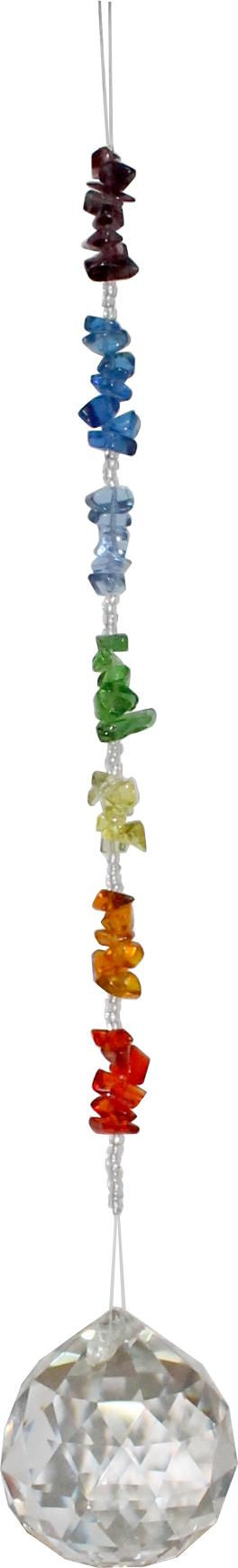 Hängender Kristall mit Glas-Chakra-Steinen