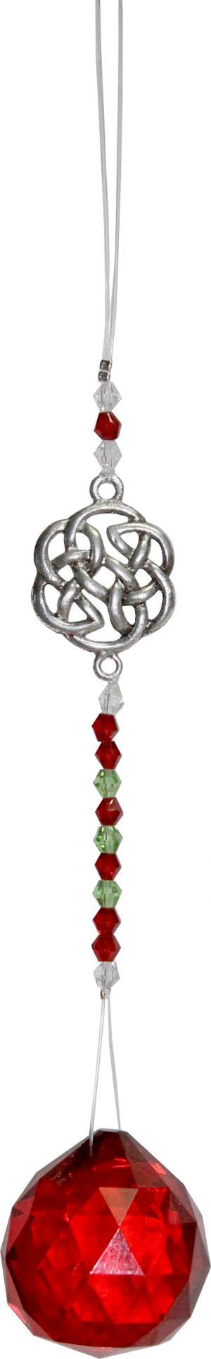 Anhänger Crystal Geschliffenes Glas mit Perlen & keltischem Knoten - Rot