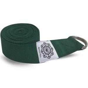 Baumwoll-Yoga-Gürtel Grün mit D-Ring - 270 cm