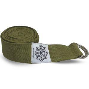 Baumwoll-Yoga-Gürtel Olivgrün mit D-Ring - 270 cm