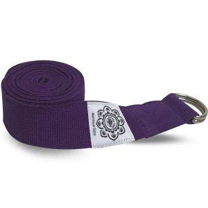 Baumwoll-Yoga-Gürtel Lila mit D-Ring - 270 cm