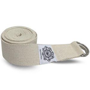 Baumwoll-Yoga-Gürtel Weiß mit D-Ring - 270 cm