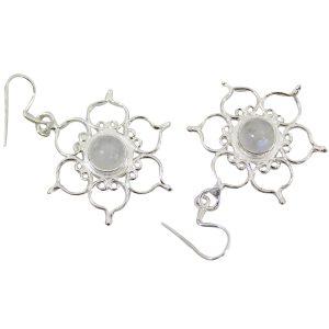 Sterling Silber Ohrringe - Regenbogen Mondstein mit Lotus (*)