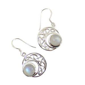 Sterling Silber Ohrringe - Regenbogen Mondstein mit keltischem Mond