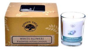 Votivduftkerze Weiße Blumen