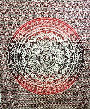 Wandtuch aus Baumwolle - Mandala Rotbraun (228 x 228 cm)