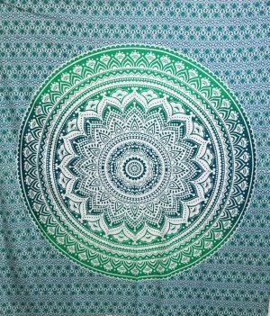 Wandtuch aus Baumwolle - Mandala - Grün (228 x 228 cm)