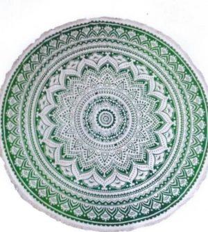 Mandala Wandtuch Rund Lotus Grün (180 cm)