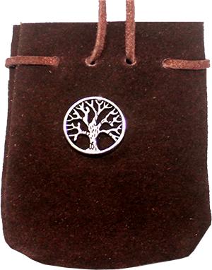 Wildledertasche Baum (türkis-braun, rund)