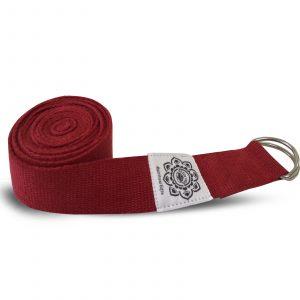 Yoga-Gürtel mit D-Ring aus Baumwolle (270 cm, rot-grün)