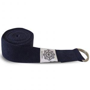 Yoga-Gürtel mit D-Ring aus Baumwolle (270 cm, dunkelblau)