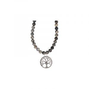 Perlenkette Jaspis Picasso mit Lebensbaum