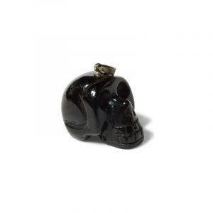 Totenkopf Anhänger Obsidian Schwarz (auf Kordel)