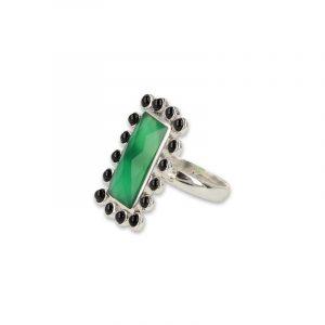 Silberring Onyx Grün und Spinell Schwarz