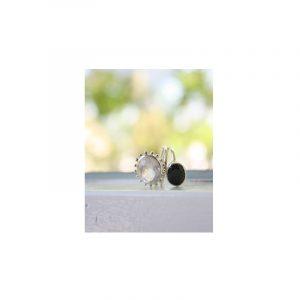 Silberring Rosenquarz/Spinell Schwarz Wrap (Größe 16)