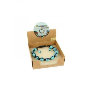 Edelsteine Shamballa Armband Howlith blau