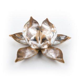 Atmosphärisches Teelichthalter Lotus Metall
