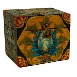 Schatzkiste Tibetisch handbemalt Blumen (12,7 x 9,3 x 11 cm)