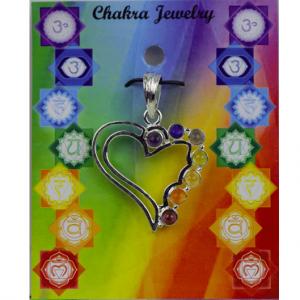 Herz Chakra Anhänger Messing versilbert Halbedelsteine