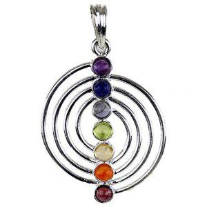 Spirale Chakraanhänger versilbert 7 Halbedelsteine