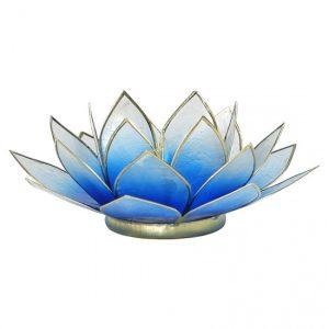 Lotus Teelichthalter blau/weiß (Rand goldfarbig)