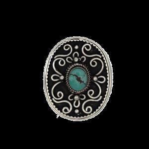 Knopf oval dekoriert - Silber/Türkis
