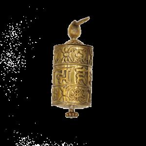 Gebetsmühle Anhänger OMPMH goldfarben