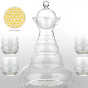 Vitalwasserkaraffe & 4 Mythos Gläser Gold