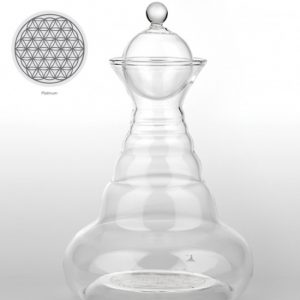 Vitalwasserkaraffe Platin Alladin mit Blume des Lebens Platin