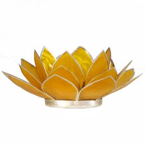 Teelichthalter - Lotusblume 3. Chakra (atmosphärisches Licht, silberner Rand, gelb)