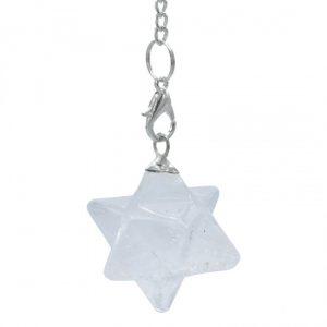 Bergkristall Merkaba Chakrapendel achtspitzig