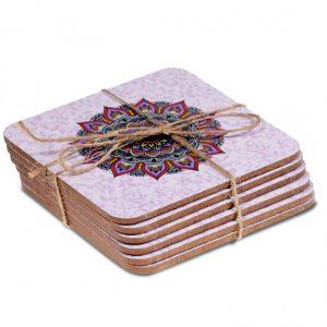 Mandala Untersetzer lila Set von 6 Stück