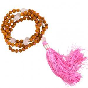 Mala Rudraksha und Rosenquarz mit rosa Quaste und Tasche