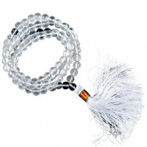Mala Bergkristall weiße Quaste 108 Perlen + Tasche