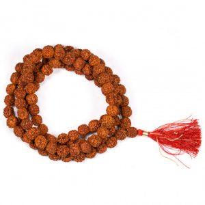 Mala Rudraksha 108 Perlen mit roter Quaste (1 cm)