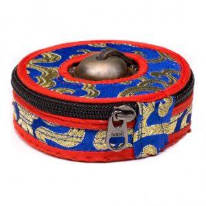 Tasche für Tingsha Zimbeln blau/rot klein