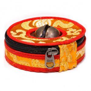 Tasche für Tingsha Zimbeln orange/rot Small