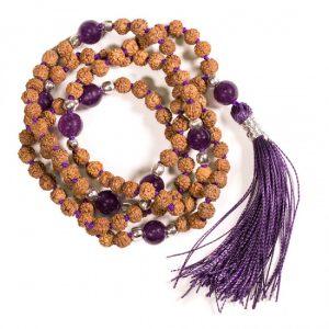 Mala Rudraksha und Amethyst mit violetter Quaste