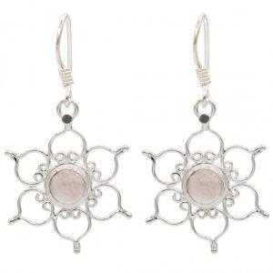 Ohrhänger Lotus 925er Silber mit Rosenquarz