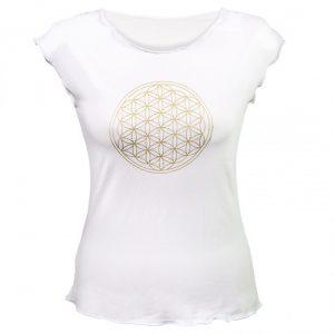 Yoga T-Shirt mit Blume des Lebens - Weiß M