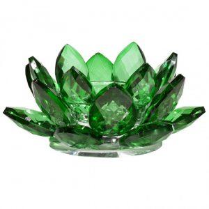 Lotus Kerzenhalter Kristall grün