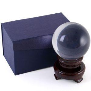 Kristallkugel mit Holzstandard (8 cm)