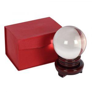 Kristallkugel mit Holzstandard (10 cm)