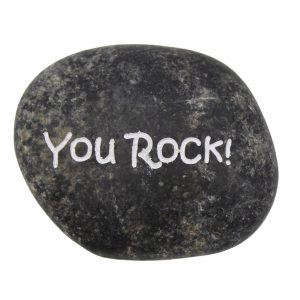 """Schwarzer Glücksstein """"You Rock"""""""