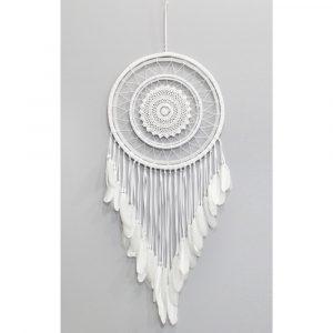 Traumfänger gehäkelt Weiß mit weißen Federn (115 x 42,5 x 42,5 cm)
