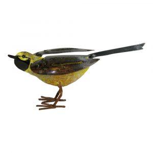 Vogel aus Metall Gelb/Braun (15 x 7 x 6 cm)