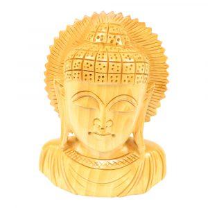 Statue aus Holz Buddha-Kopf (11 x 9 x 3 cm)