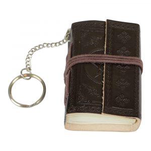 Schlüsselanhänger Notizbuch Leder mit Sternen Schwarz