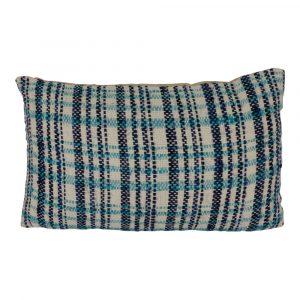 Zierkissen aus Baumwolle Checks Blau (Rechteckig mit Füllung)